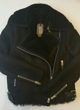 BNWT Allsaints ASHTON LEATHER SHEARLING JACKET. UK 12 (corrispondenze 14) Nero. £ 798 * OFFERTA *