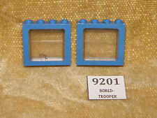 LEGO Parts: 4033 BLUE Window 1x4x3 Train & 4034 Trans-Clear Glass 1x PAIR