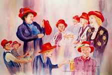 Red Hats Ladies 15 x 22 inch Original Watercolor painting by Roxanne Tobaison