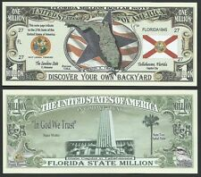 FLORIDA STATE MILLION DOLLAR BILL w MAP, SEAL, FLAG, CAPITOL - Lot of 10 BILLS