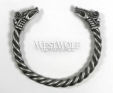 Silver Viking Dragon Bracelet/Torc/Torque -- Norse/Medieval/Jewelry/Skyrim NEW