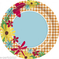 FLORAL Garden Check LARGE PAPER PLATES (8) ~ Birthday Party Supplies Dinner Red