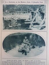 1917 PADDLING IN AN OIL DRUM BOAT, FISHING FROM A WOODEN BRIDGE, ANGLING WW1 WWI