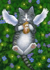 Kitten cat angel fairy mouse fireflies fantasy limited edition aceo print art