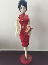 Vintage Rare Midcentury Taiwan Woman Chinese Doll Red Qipao Dress Figurine
