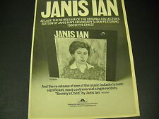 Janis Ian re-release of Society'S Child seldom seen 1975 Promo Poster Ad mint