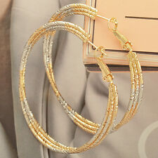 Womens Two Tone Yellow/White Gold Filled Hoop Earrings 3 Row band Huggie