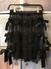 Fairyfair Tiered Black Lace Skirt With Bows Size 10