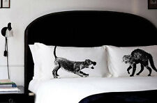PILLOW fighting CAT vs DOG pillowcases fight vintage unique rain funny pet set