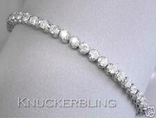15.00 ct brillante taglio diamanti tennis linea Bracciale Solido 18ct oro bianco F / VS
