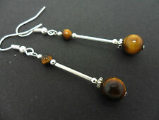 A PAIR OF DANGLY TIGERS EYE  BEAD  SILVER PLATED DROP EARRINGS.