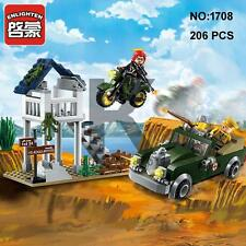 Enlighten 1708 Military Army Motorcycle Car Building Block Toy lego Compatible