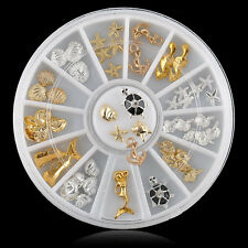Useful 3D Ocean Alloy Jewelry Nail Art Decoration Glitter Rhinestones Wheel New