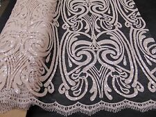 Sequin NUDE Damask Mesh Polyester Lace Large Print Fancy angel dress fabric