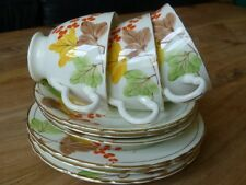 VINTAGE CHINA DELPHINE 9 Pieces. Three Plates, Cups & Saucers Gilded Trio Sets