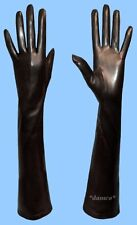 WOMENS size 9.5 4XL EXTRA LONG SILK LINED GENUINE BLACK LAMBSKIN LEATHER GLOVES