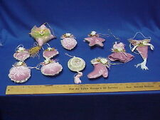 Lot of 11 Vintage Victorian Style Pink Velvet and Flowers CHRISTMAS Ornaments