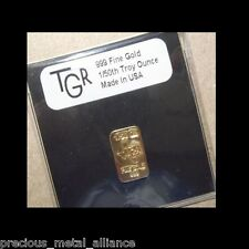 GOLD 1/50 th TROY OUNCE OZ 24K PURE SOLID PREMIUM BULLION BAR 999.9 FINE INGOT