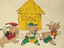 VTG NOVELTY DISNEY PRODUCTIONS THREE LITTLE PIGS FABRIC PLEATED DRAPE PANEL PR