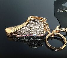 Stylish Diamante Gold Trainer pump Keyring New Bling