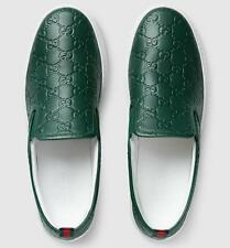 NEW GUCCI DEEP GREEN GG LEATHER SIGNATURE SLIP ON SNEAKER MOCCASINS SHOES 10.5