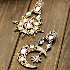 Lady Einzigartige Sonne Mond Sterne Crystal Strass Ohr Stollen Ohrringe Schmuck