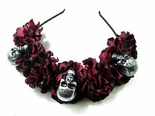 Black Dark Red Sugar Skull Flower Hair Crown Headband Goth Rose Halloween Vtg 16