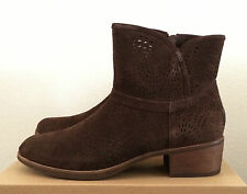 Womens Size 7 Brown UGG Darling Seaweed Perf Zip Ankle Cowboy Boots 1007142