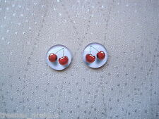 BUNCH OF CHERRIES CHERRY PRINT RED WHITE Domed Glass Stud Earrings SP Gift Bag