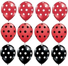 "POLKA Dots BLACK RED Ladybug Minnie Mouse Dotted (12) 11"" LATEX Party BALLOONS"