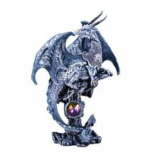 Small Guardian Knight Mystic Dragon Perched On Rock Crystal Rhinestone Statue