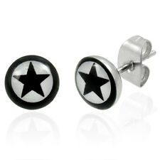 Urban Male Mens Stainless Steel Black Star Stud Earrings Pair New Free P+P