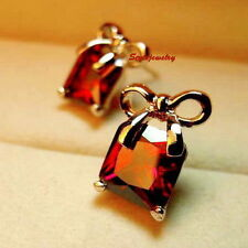 Rose Gold Filled Ruby Red Swarovski Crystal Women Wedding Bow Stud Earring XE92