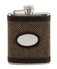 Tweed Leather Covered Hip Flask Country Design Engravable Gift Shooting Present