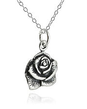 Rose Necklace - 925 Sterling Silver -  Flower Charm Jewelry Garden Roses Pendant