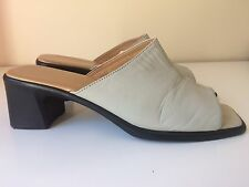 Footglove By M&S Real Leather Beige Ladies Slip On Shoes Summer Mules UK 7 41