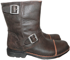 UGG Australia MENS Rockville Fur Lined Engineer Moto Biker Buckled Boots 9.5