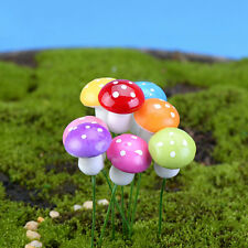 10X Mini Colorful Mushroom Garden Ornament Miniature Plant Pots Fairy DollhouseH