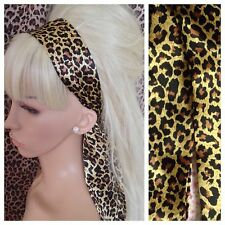 ANIMAL LEOPARD PRINT SATIN HAIR HEAD BAND SELF TIE BOW 50s GLAMOUR VINTAGE STYLE