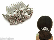 Beautiful Hair Comb Slide Vintage Style Crystal & Pearl Bouquet Design Bridal