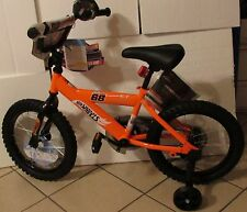 "HOT WHEELS BLACK & ORANGE W/ TRAINING WHEELS 12"" X 16"" BMX BICYCLE"