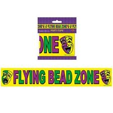 MARDI GRAS Flying Bead Zone PARTY TAPE (20ft) ~ Supplies Caution Adult Decor