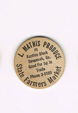 Vintage Wooden Nickel L. Mathis Produce Savannah, GA State Farmers Market