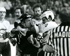 Chris Nilan - Canadiens & Tiger Williams -  Canucks Fight, 8x10 B&W Action Photo
