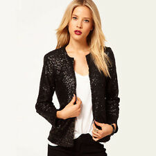 Women Sequin Solid Slim Casual Business Blazer Suit Jackets Outwear Coat S-2XL