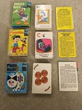 Vintage Set Of 3 Edu-Cards Ed-U-Cards Donald Duck Pinocchio Disney Piggy Bank