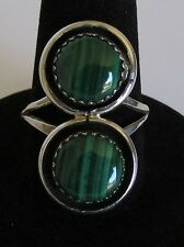 Native American Navajo Sterling Silver Malachite  Ring Size 7 Signed B