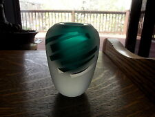 Art glass PAPERWEIGHT VASE Teal Blue-green clear frosted cut Signed B Howard?