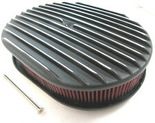"""12"""" Nostalgic Oval Black Full Finned 4 Brl Air Cleaner With Washable Red Filter"""