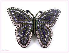 Púrpura & Negro Metálico con incrustaciones de cristal claro Mariposa Broche/Pin (22)